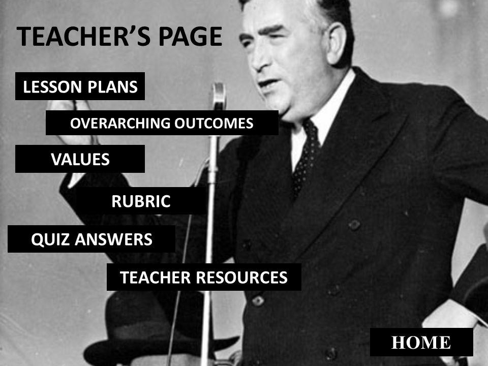 TEACHER'S PAGE LESSON PLANS VALUES RUBRIC QUIZ ANSWERS