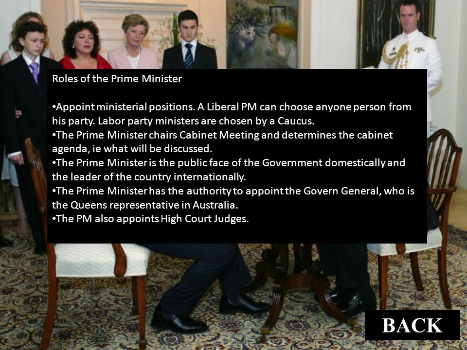 BACK Roles of the Prime Minister