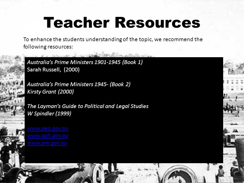 Teacher Resources To enhance the students understanding of the topic, we recommend the following resources: