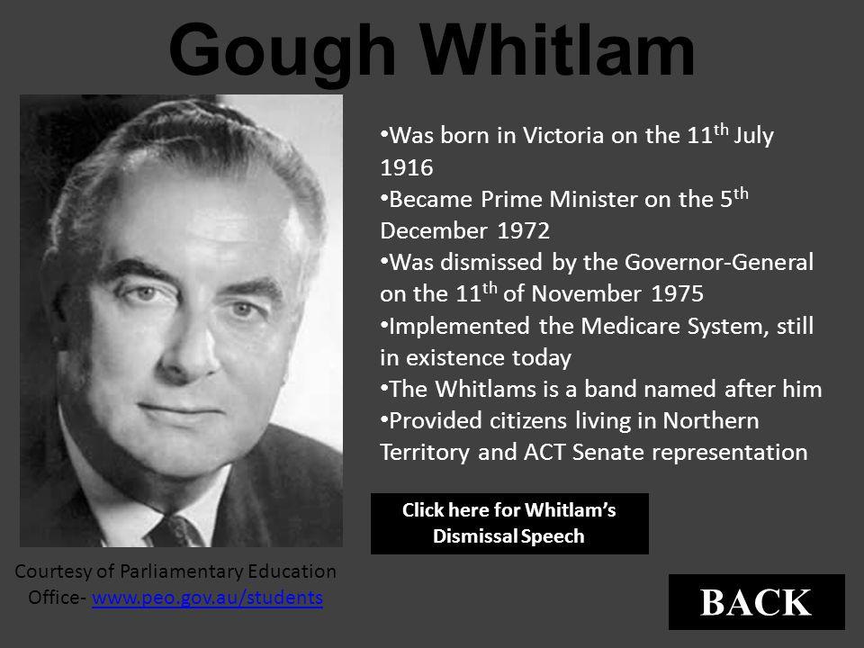 Click here for Whitlam's Dismissal Speech