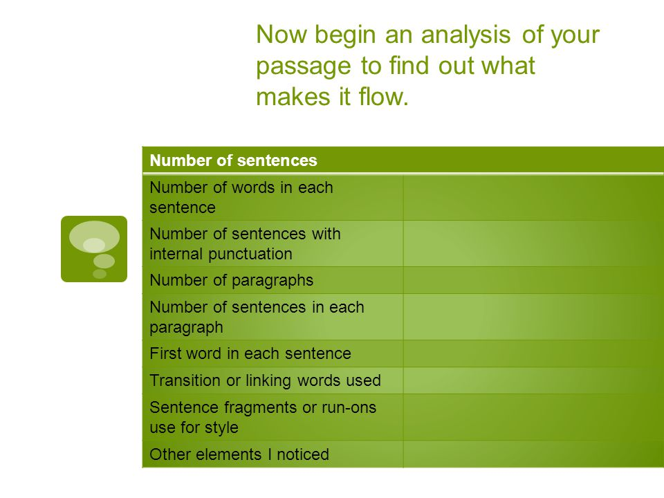 Now begin an analysis of your passage to find out what makes it flow.