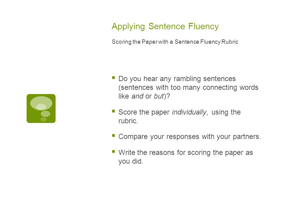 Applying Sentence Fluency