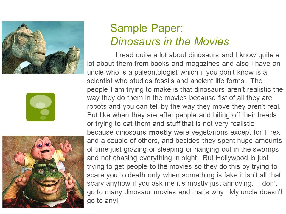 Sample Paper: Dinosaurs in the Movies