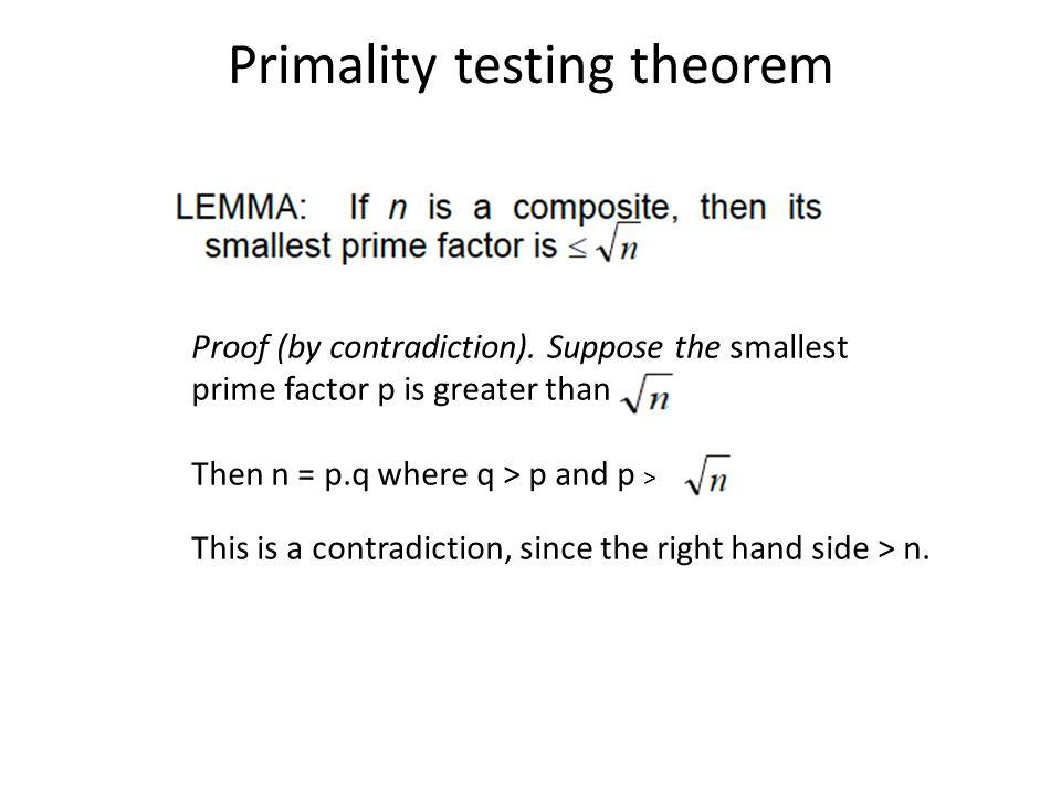Primality testing theorem
