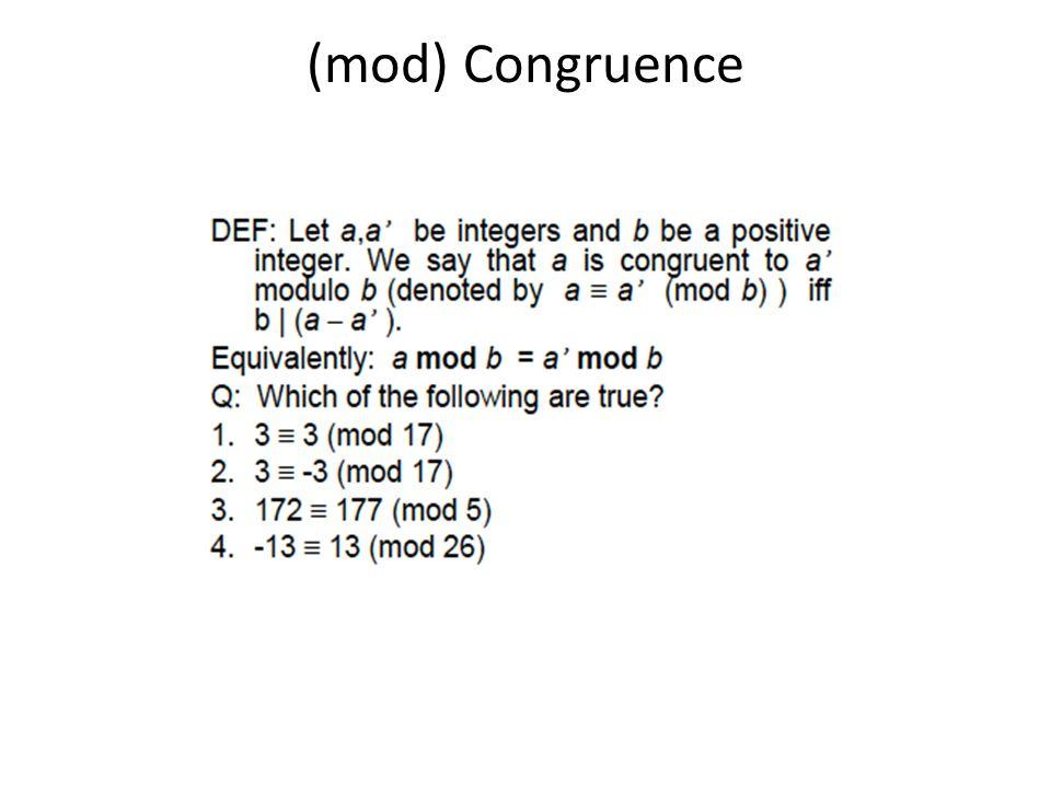 (mod) Congruence