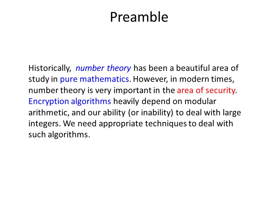 Preamble Historically, number theory has been a beautiful area of