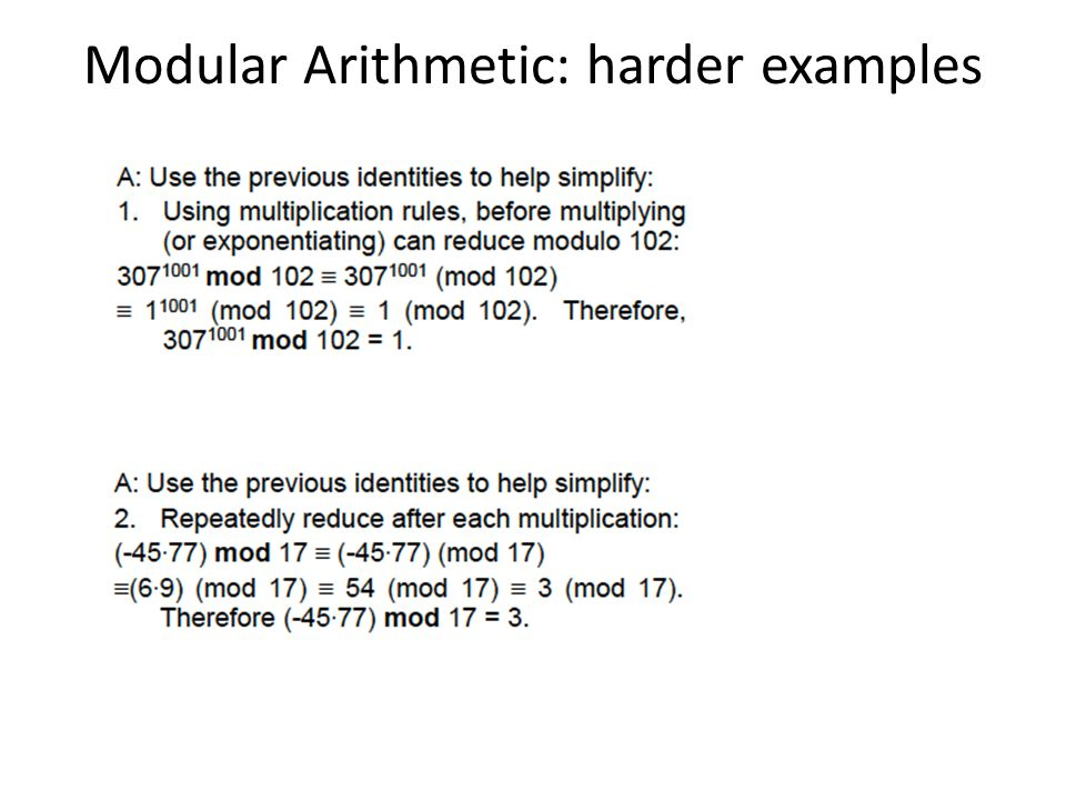 Modular Arithmetic: harder examples