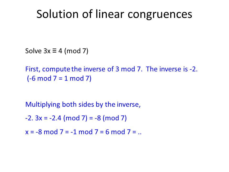 Solution of linear congruences