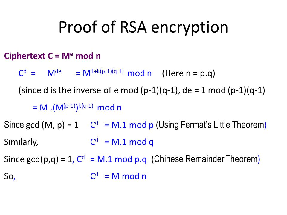 Proof of RSA encryption