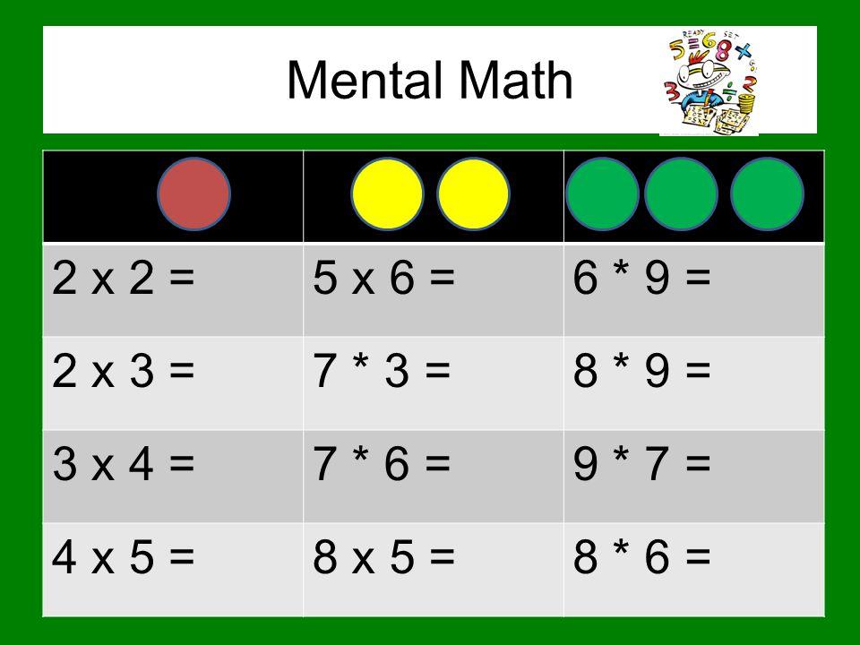 Mental Math 2 x 2 = 5 x 6 = 6 * 9 = 2 x 3 = 7 * 3 = 8 * 9 = 3 x 4 =
