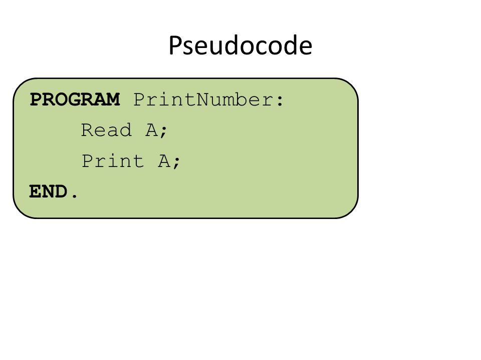 Pseudocode PROGRAM PrintNumber: Read A; Print A; END.