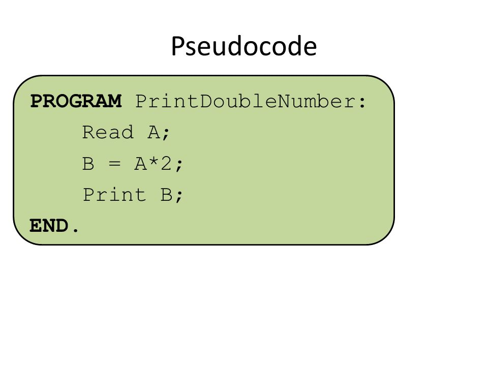 Pseudocode PROGRAM PrintDoubleNumber: Read A; B = A*2; Print B; END.
