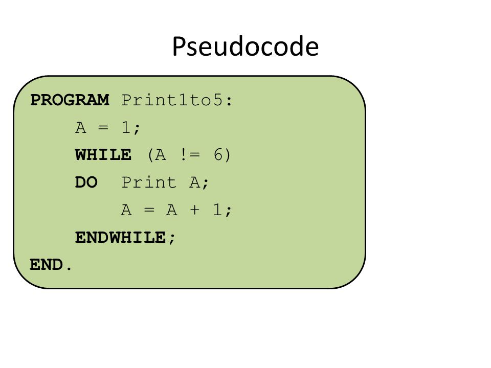 Pseudocode PROGRAM Print1to5: A = 1; WHILE (A != 6) DO Print A; A = A + 1; ENDWHILE; END.