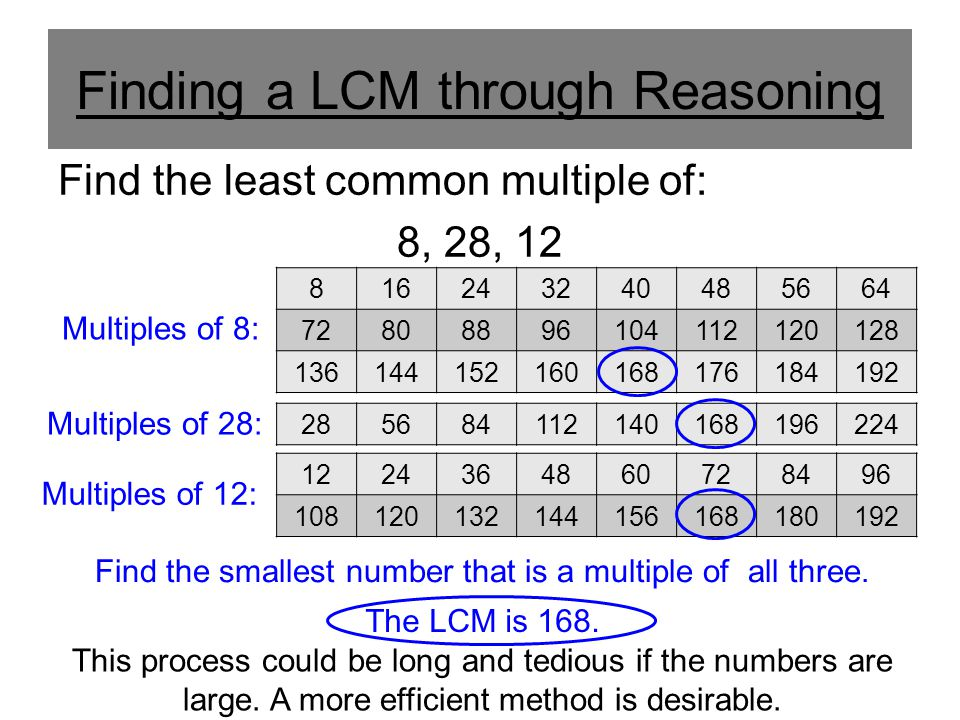 Finding a LCM through Reasoning