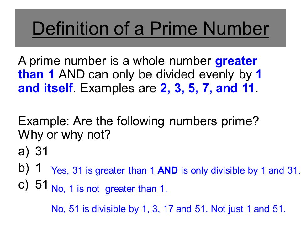 Definition of a Prime Number