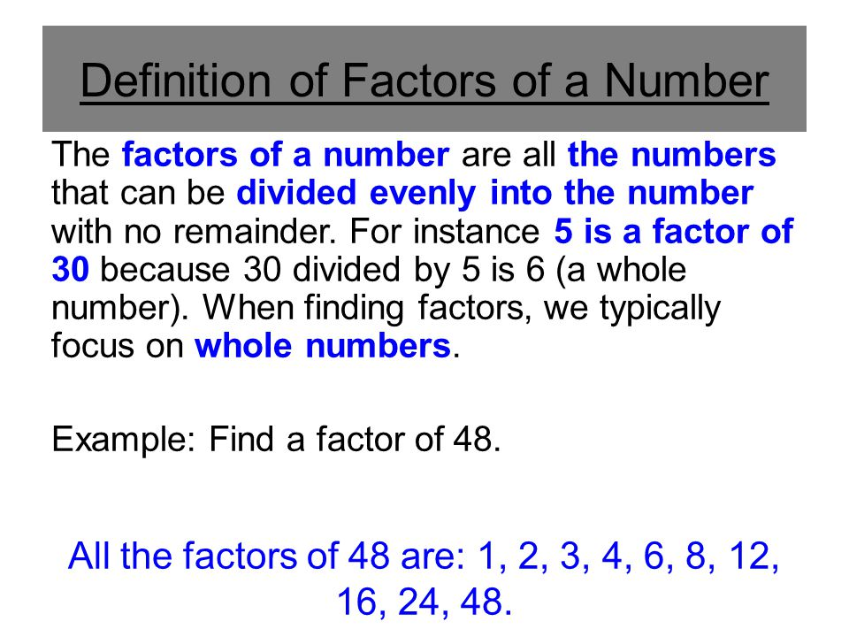 Definition of Factors of a Number