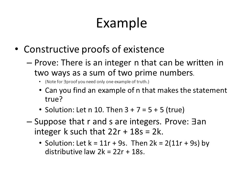 Example Constructive proofs of existence