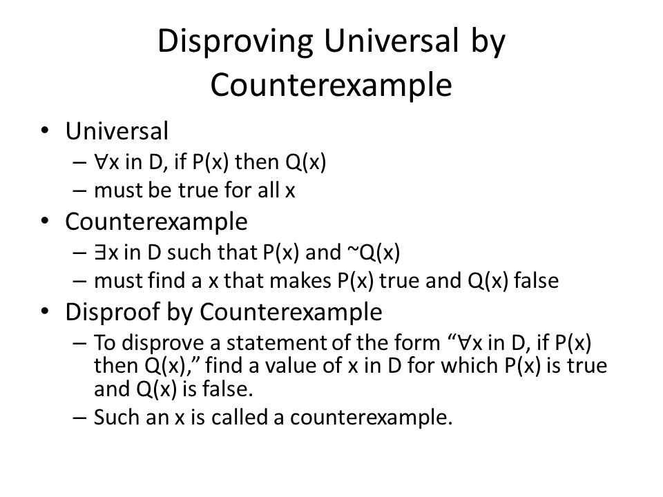 Disproving Universal by Counterexample