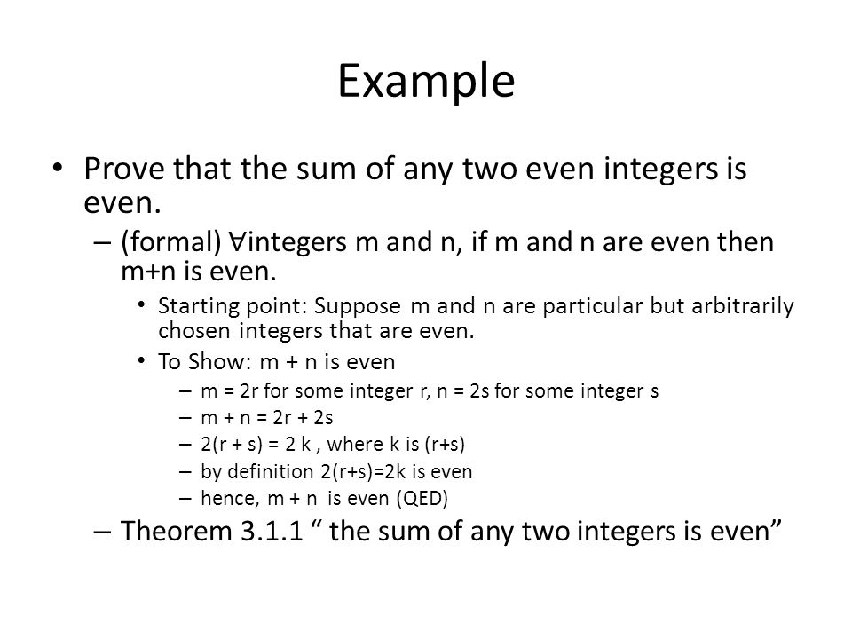 Example Prove that the sum of any two even integers is even.
