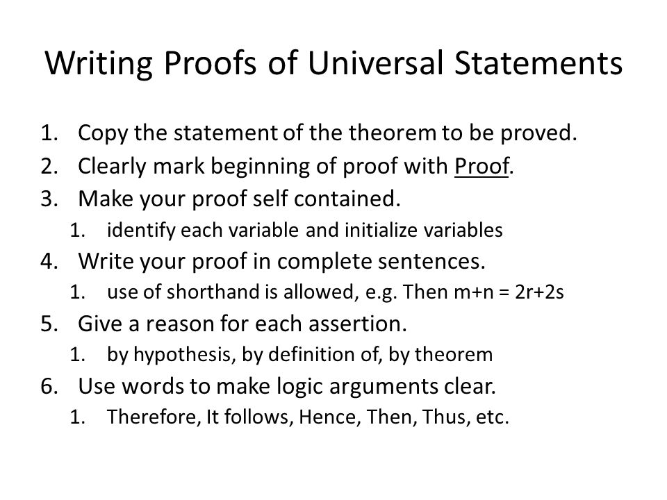 Writing Proofs of Universal Statements