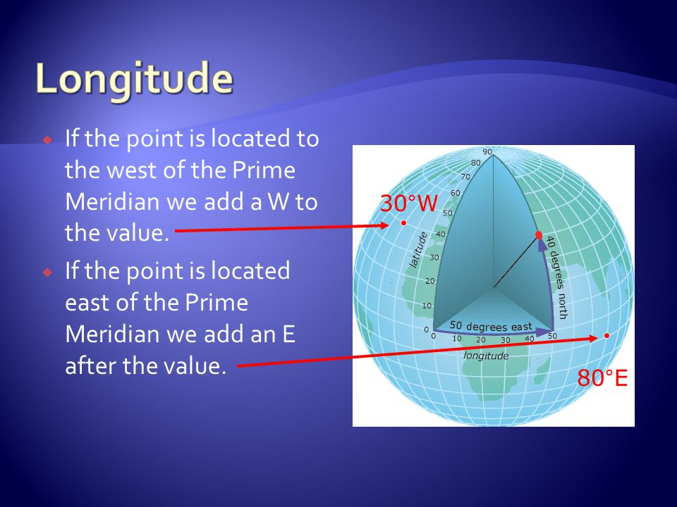 Longitude If the point is located to the west of the Prime Meridian we add a W to the value.