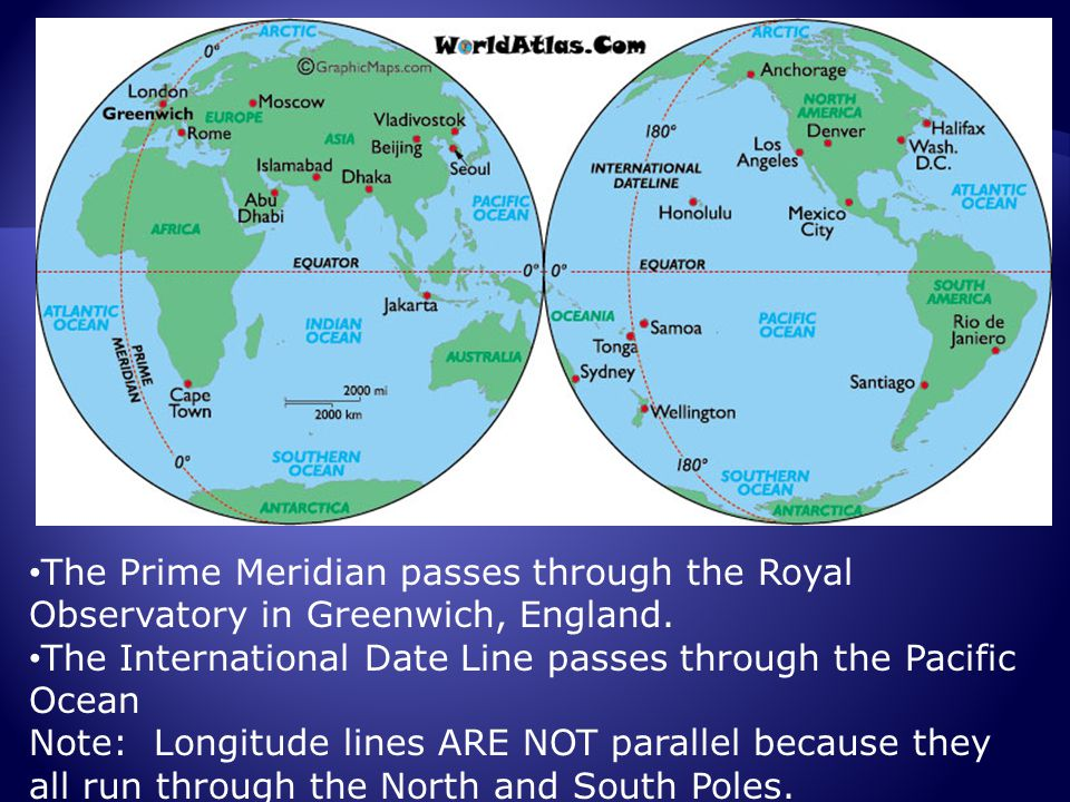 The Prime Meridian passes through the Royal Observatory in Greenwich, England.