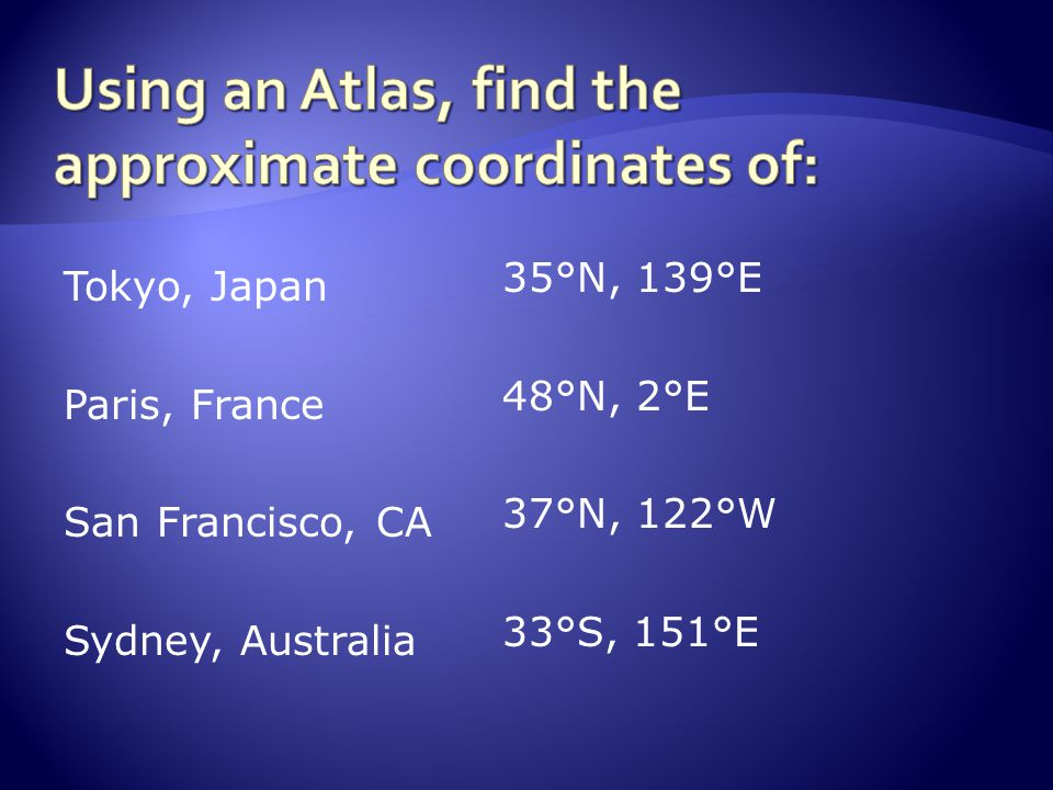 Using an Atlas, find the approximate coordinates of: