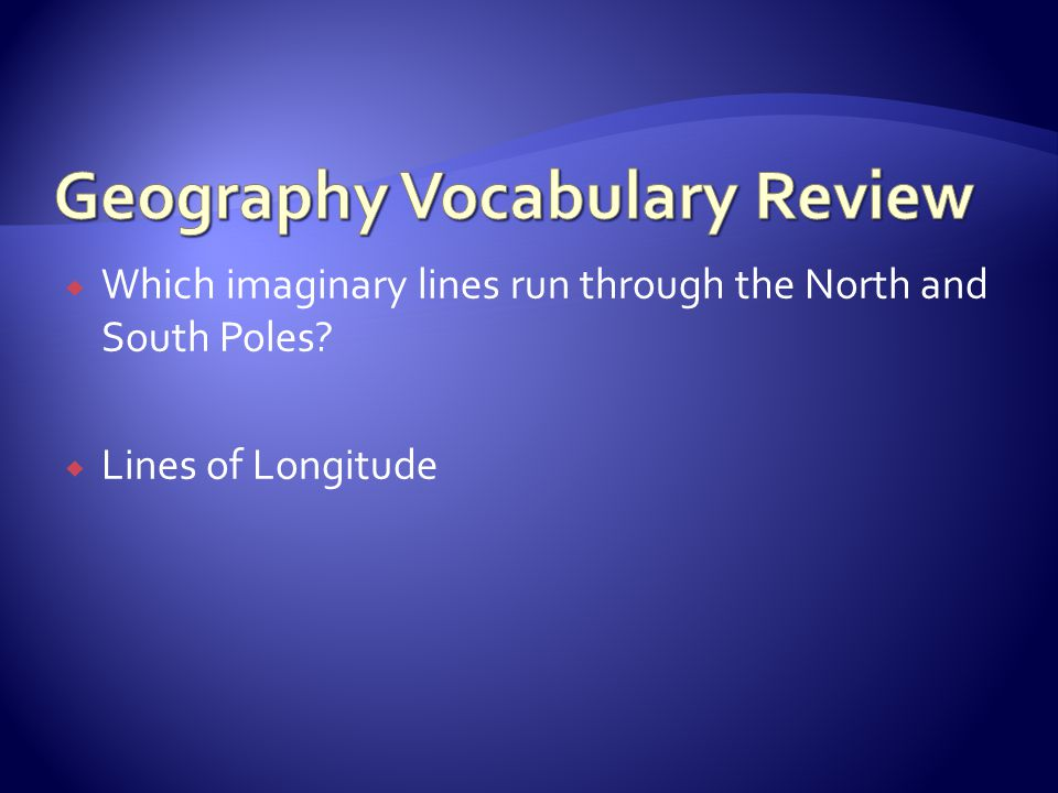 Geography Vocabulary Review