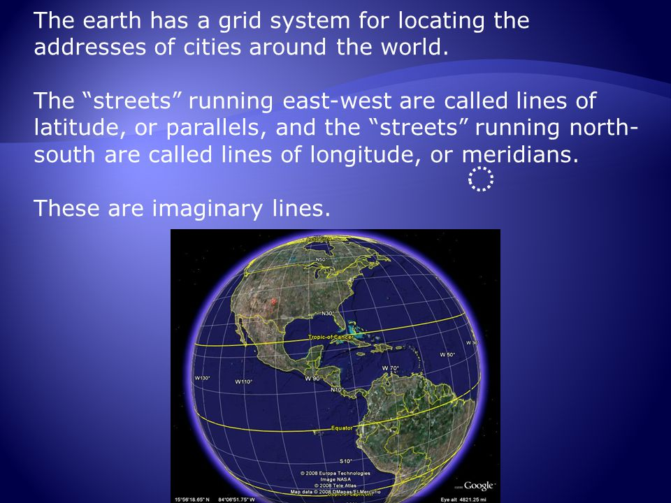 The earth has a grid system for locating the addresses of cities around the world.