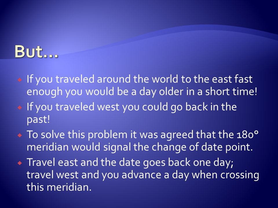 But… If you traveled around the world to the east fast enough you would be a day older in a short time!