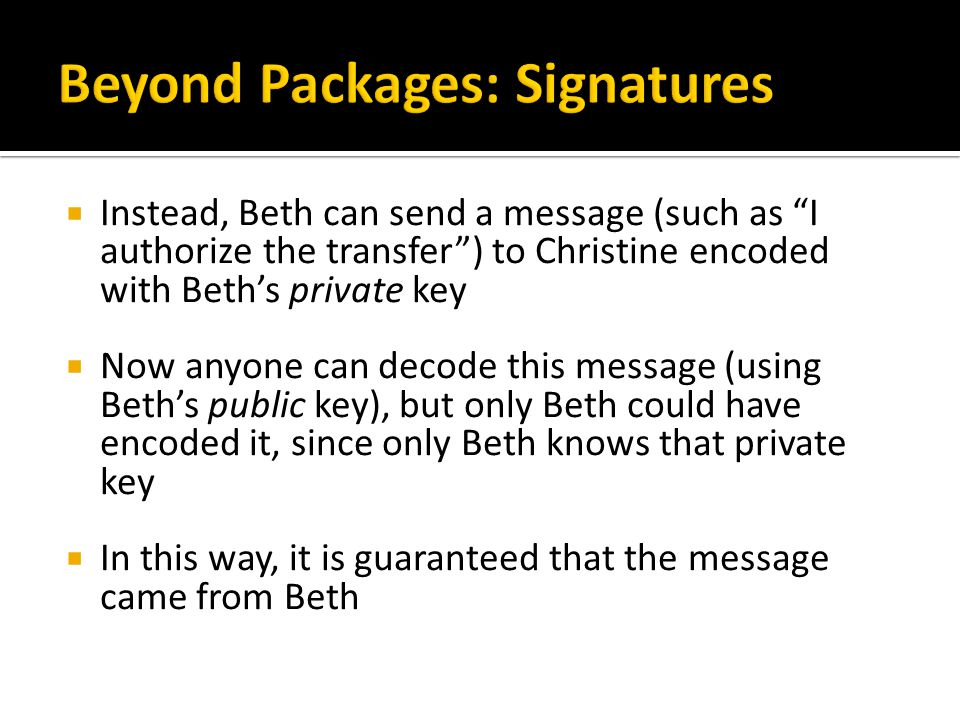 Beyond Packages: Signatures