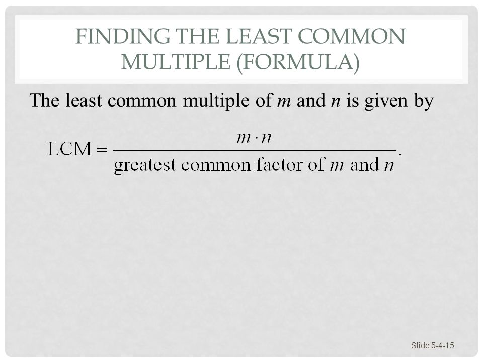 Finding the Least Common Multiple (Formula)