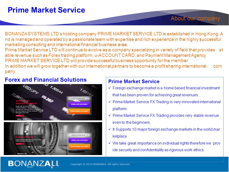 Prime Market Service About our company Forex and Financial Solutions
