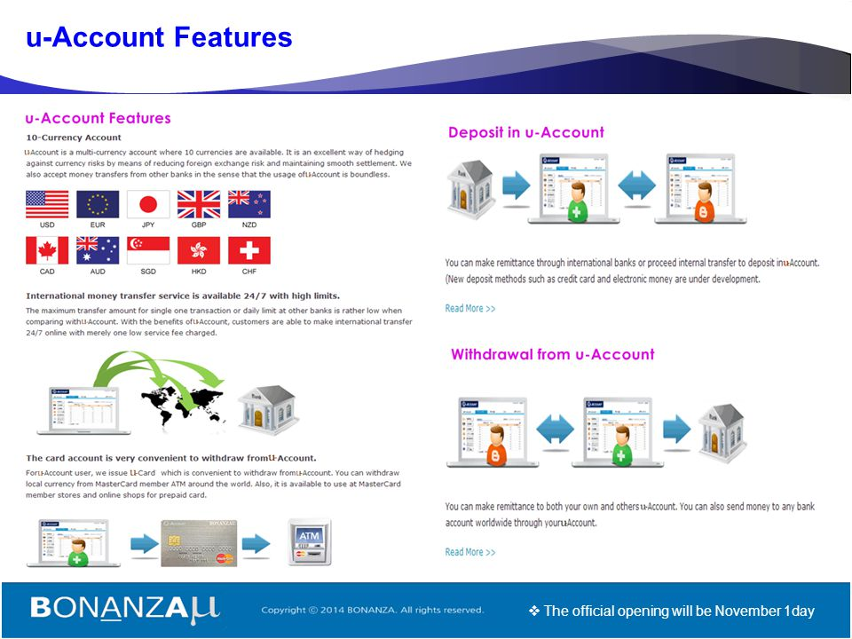 u-Account Features The official opening will be November 1day