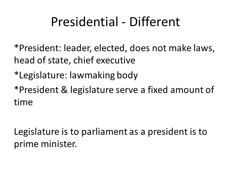 Presidential - Different