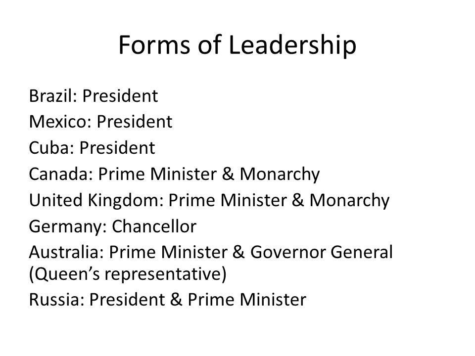 Forms of Leadership
