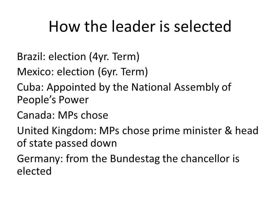 How the leader is selected