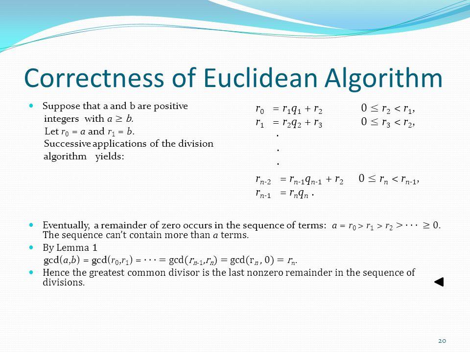 Correctness of Euclidean Algorithm