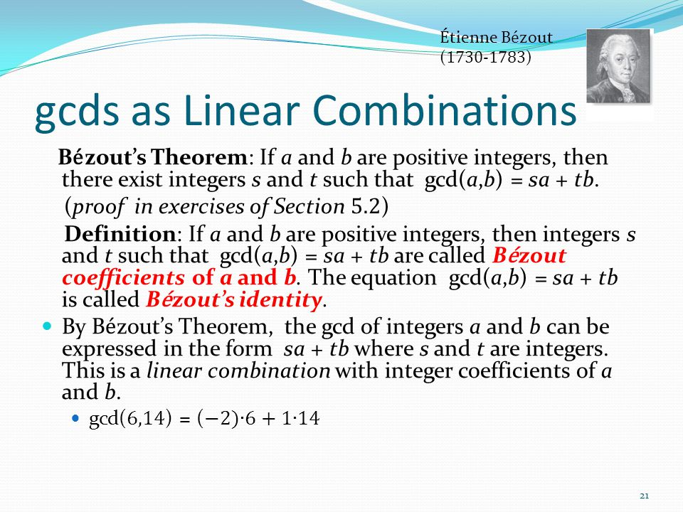 gcds as Linear Combinations