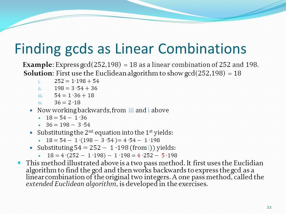 Finding gcds as Linear Combinations