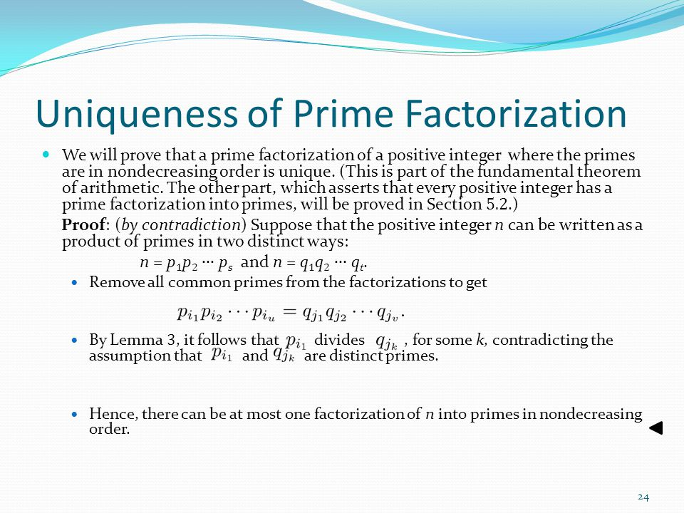 Uniqueness of Prime Factorization