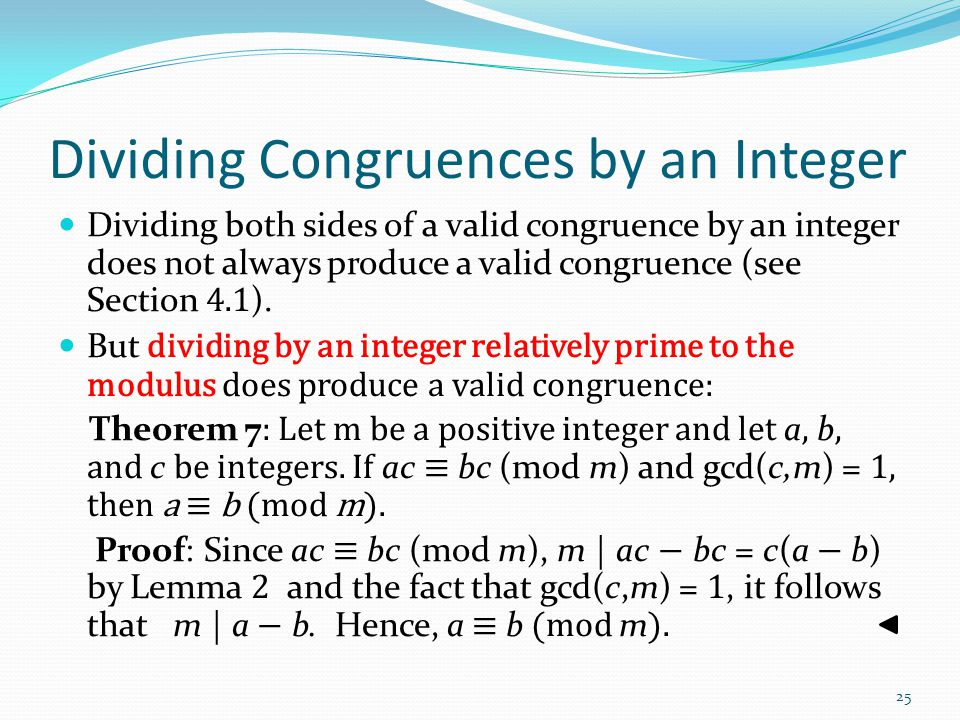 Dividing Congruences by an Integer
