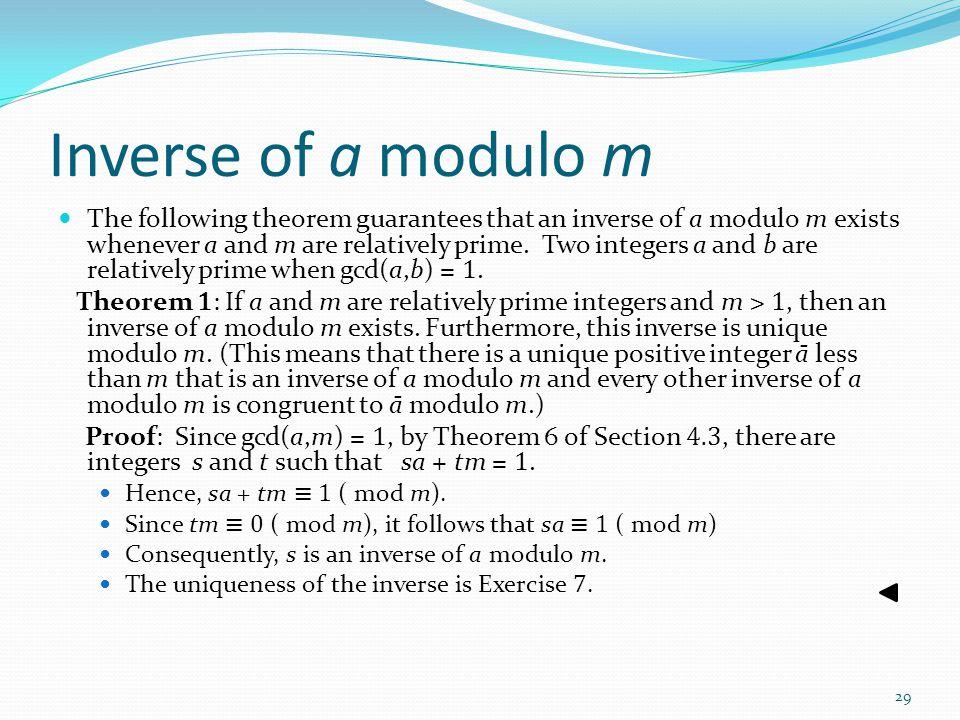 Inverse of a modulo m