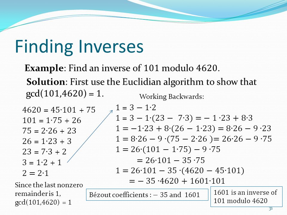 Finding Inverses Example: Find an inverse of 101 modulo 4620.