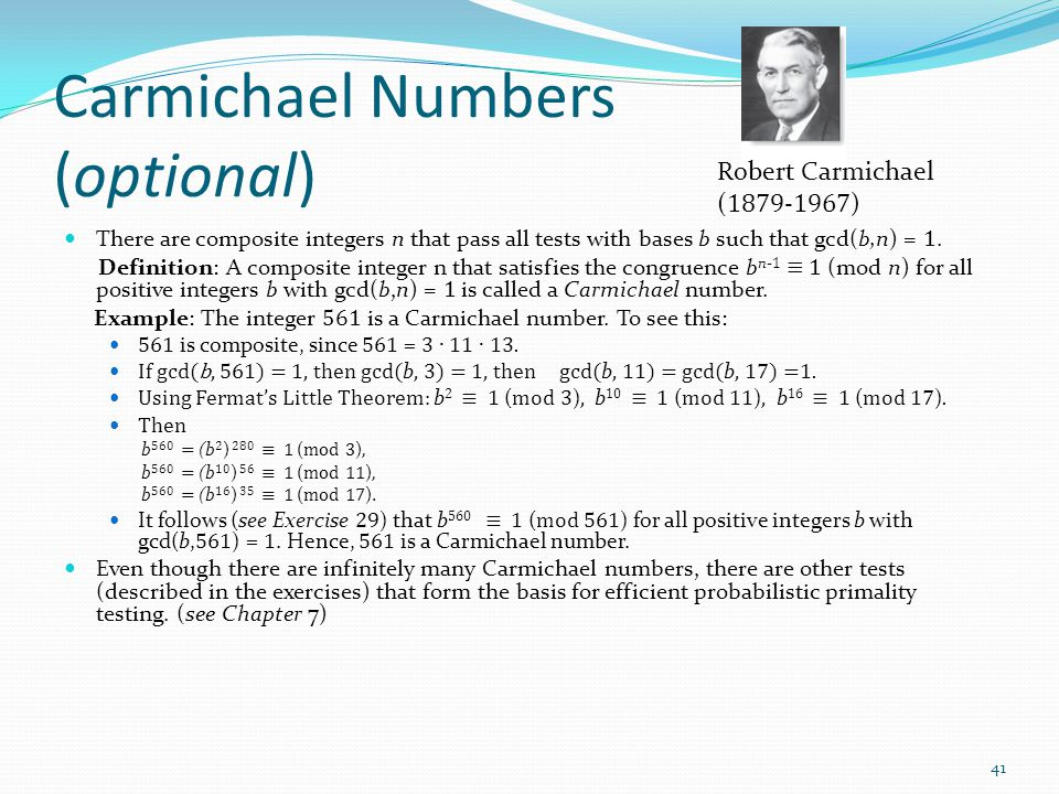 Carmichael Numbers (optional)