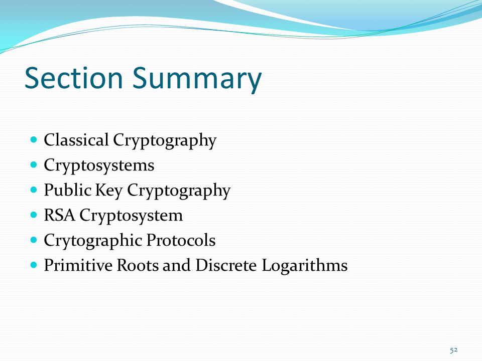 Section Summary Classical Cryptography Cryptosystems