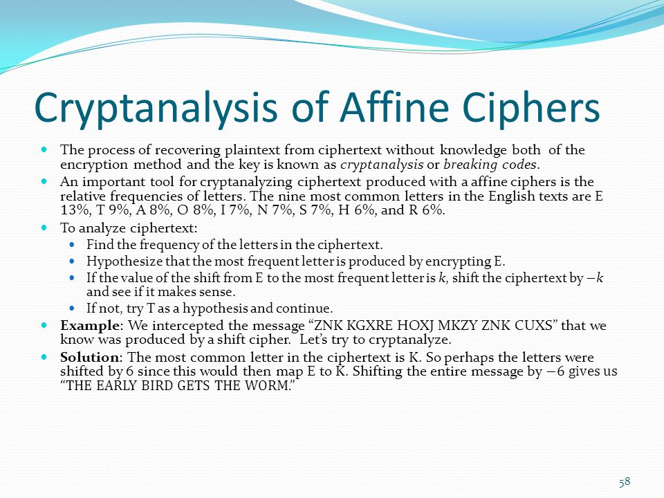 Cryptanalysis of Affine Ciphers
