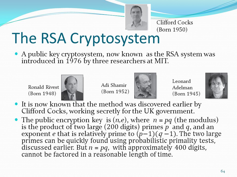 The RSA Cryptosystem Clifford Cocks. (Born 1950)