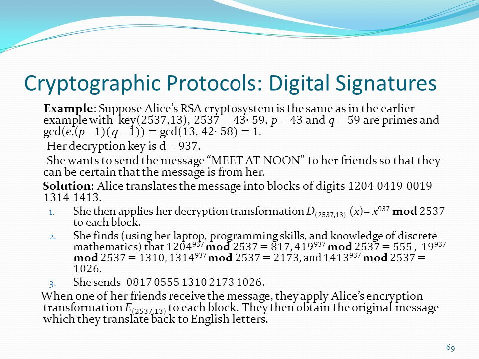 Cryptographic Protocols: Digital Signatures