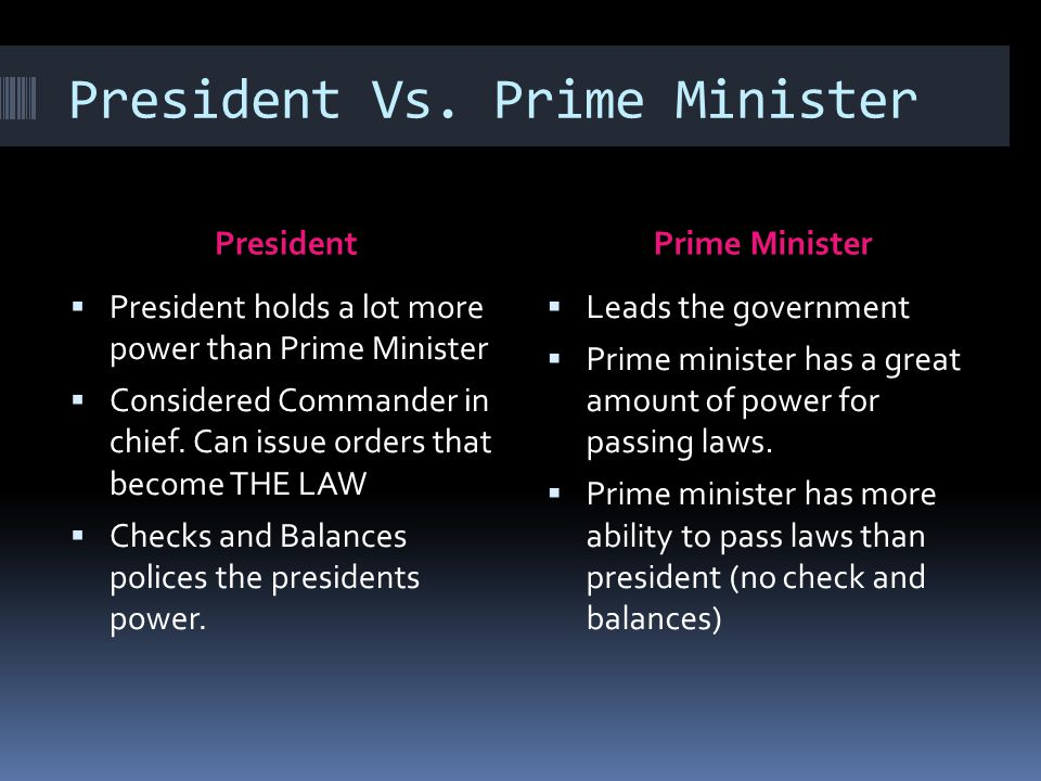 President Vs. Prime Minister